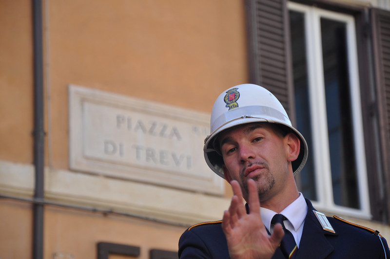 This Rome policeman didn't want to be photographed. Has he got something to hide or is he just a member of the Mafia too?