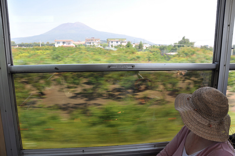Vesuvius in the distance by as the train heads towards Naples
