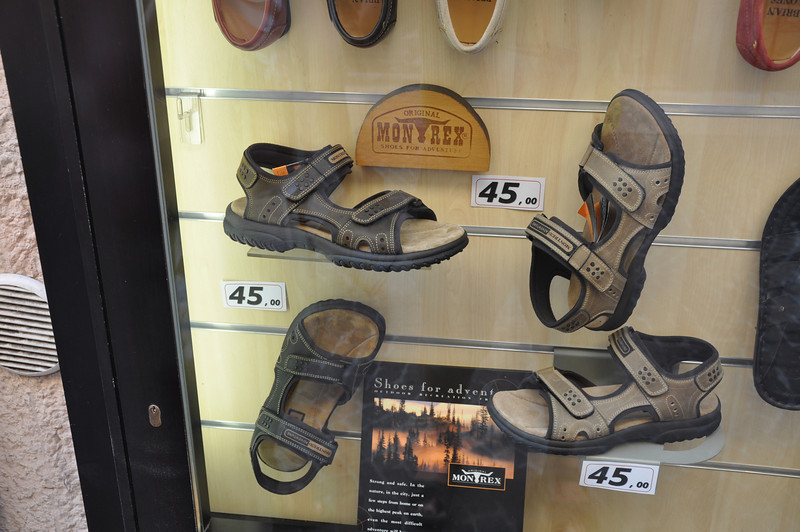 One of these pairs of sandals was Ian's 62nd birthday present from Sheila