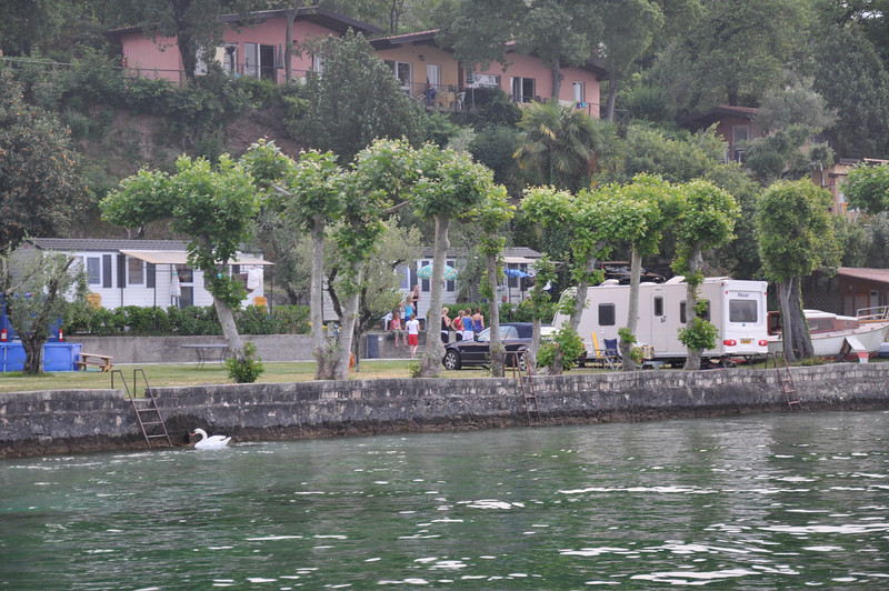 The fantastic waterside pitch at Camping Ideal Molino on Lake Garda