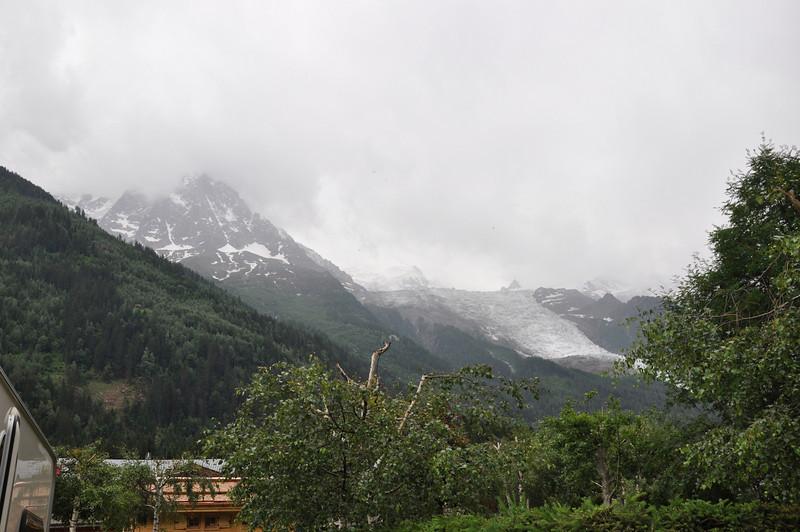 Mist obscures Mont Blanc but the glacier is still visible
