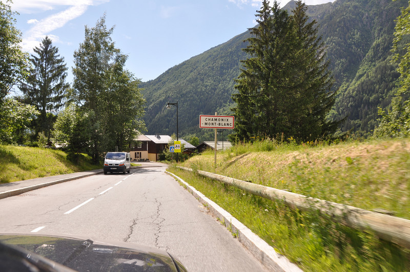 We arrive in Chamonix Mont-Blanc having crossed from Italy to France through the Mont Blanc tunnel