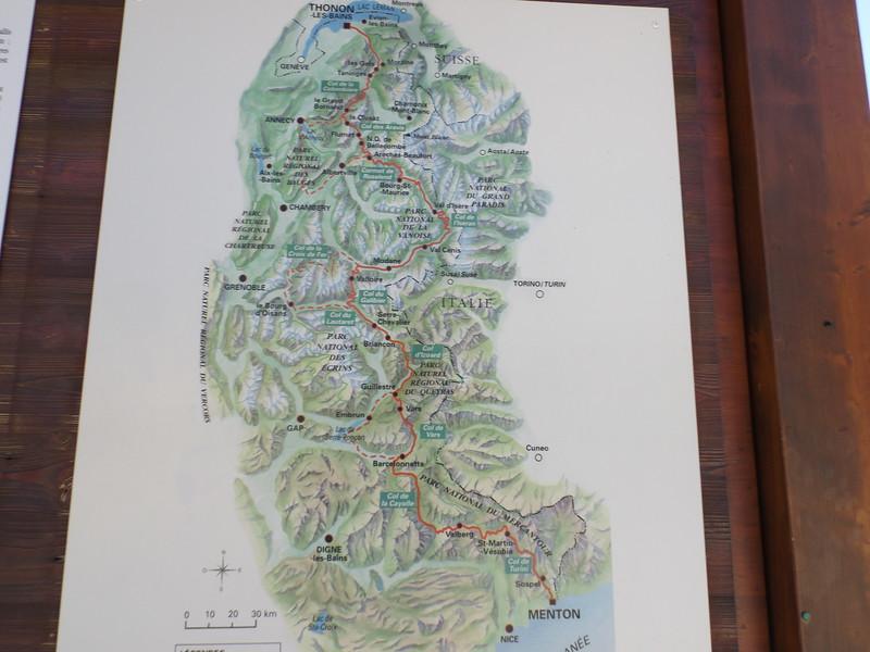 Carte de la Route des Grandes Alpes au Col du TELEGRAPHE