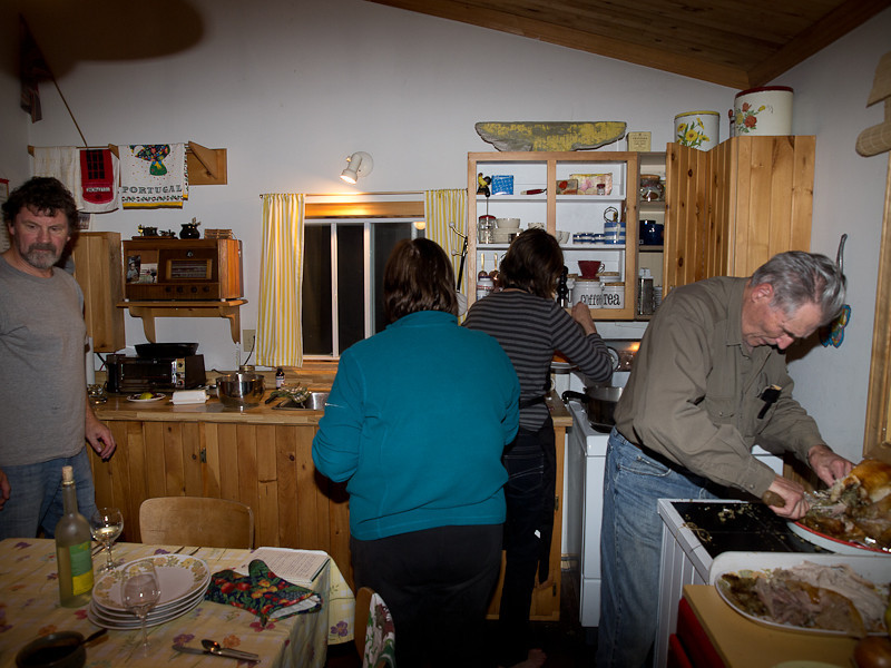 Tony, Janice, Jo-Ann and Grampa getting Thanksgiving dinner ready.
