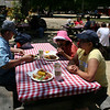 Sitting down for a BBQ lunch at Roaring Camp.