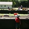 Dio looking at the model train tracks at Roaring Camp.