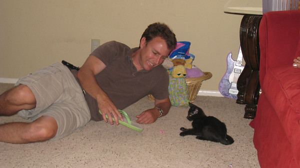 Chris playing with Beans the kitten