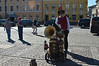And the one man band plays on. In the square in front of the Helsinki Cathedral, Helsinki, Finland.