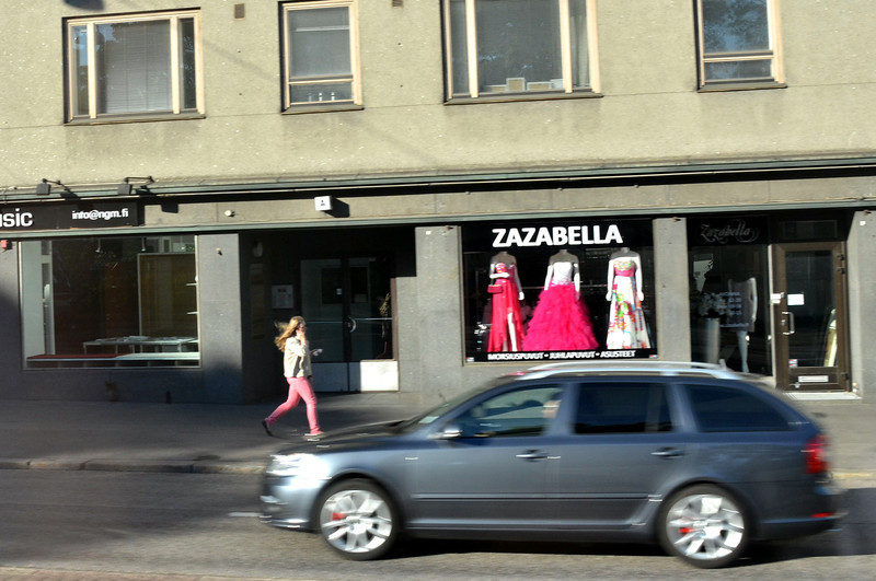 Everyone's in a hurry, except the mannequins at Zazabella, Finland.