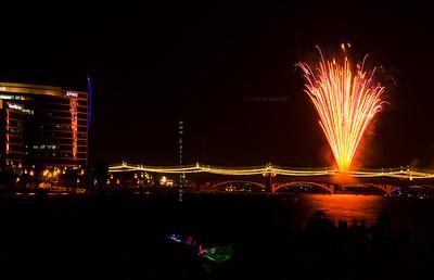 Yellow fireworks KPMG bldg 8295