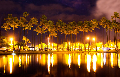 Trees lights AlaMoana pond 070412 9430