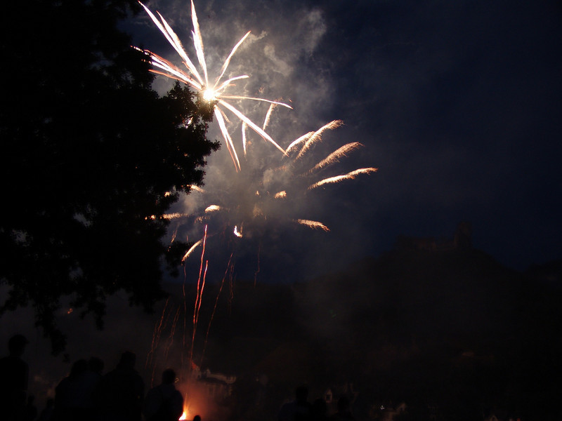 Fireworks with Castle in Background in Bernkastel-Kues