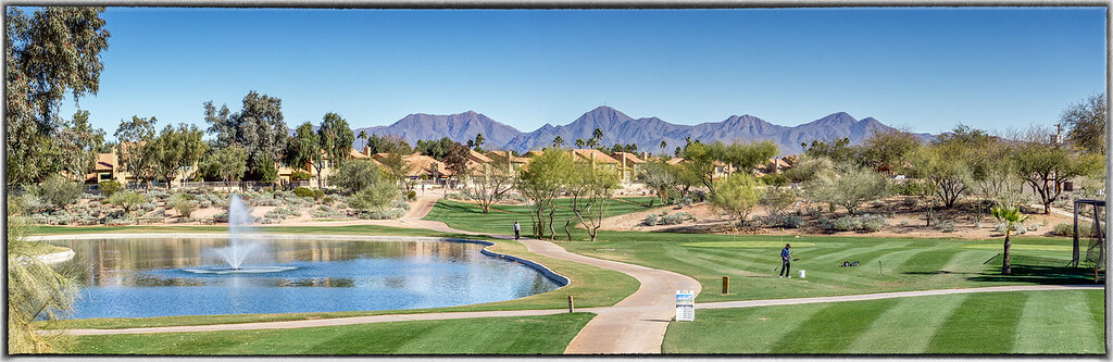 Golf Course with McDowell Mountains in the Background
