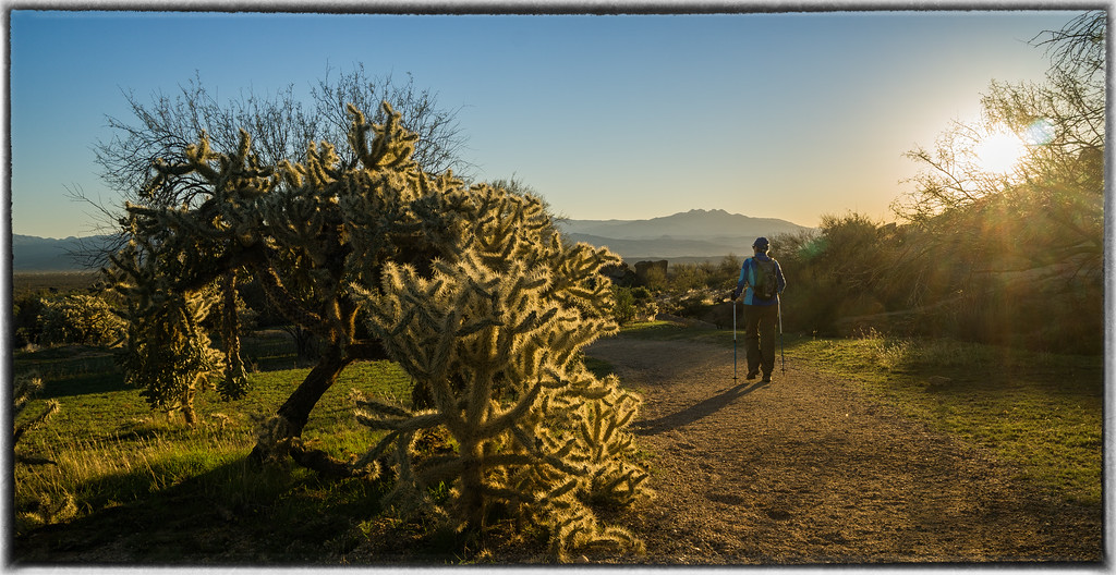 Sharon Hiking into the Sunrise
