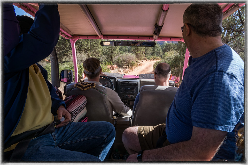 Inside the Pink Jeep