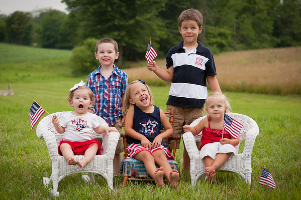 The grandkids being very patriotic: Aislynn Ayers, Evie Fox, Kambria Fox, Asher Ayers, Tristian Fox.<br /> <br /> Photographer's Name: Terry Lynn Ayers<br /> Photographer's City and State: Anderson, Ind.