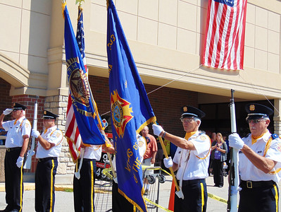 Debbie Blank | The Herald-Tribune The Batesville Veterans of Foreign Wars Honor Guard presented flags to open the 11 a.m. VFW Day ceremony.