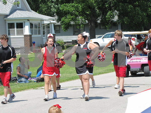 Some of the Fort Dodge Dodger Cheerleaders participated in the Otho 4th of July parade.