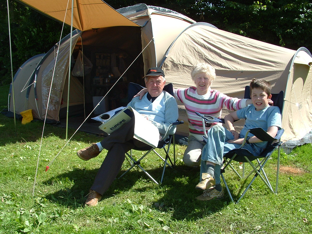 Outside tent on rest day.
