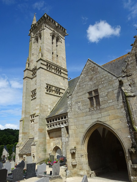 One of the many beautiful Breton churches, and look... sun!<br /> This one is at a tiny village called Saint-Jean-du-Doigt