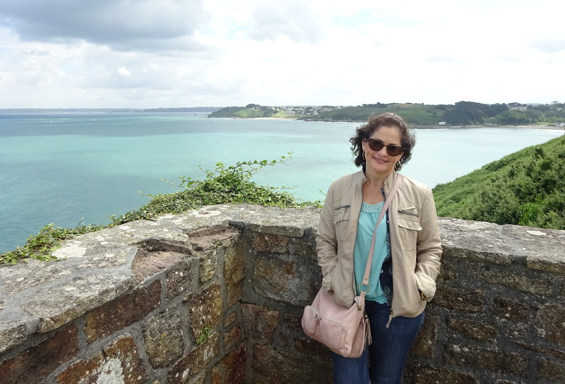 A happy Joanne on the north Brittany coast