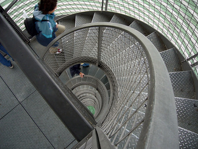 Looking down the tower's staircase