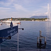 The famous Jet d'Eau, from the Mont-Blanc area of Geneva.