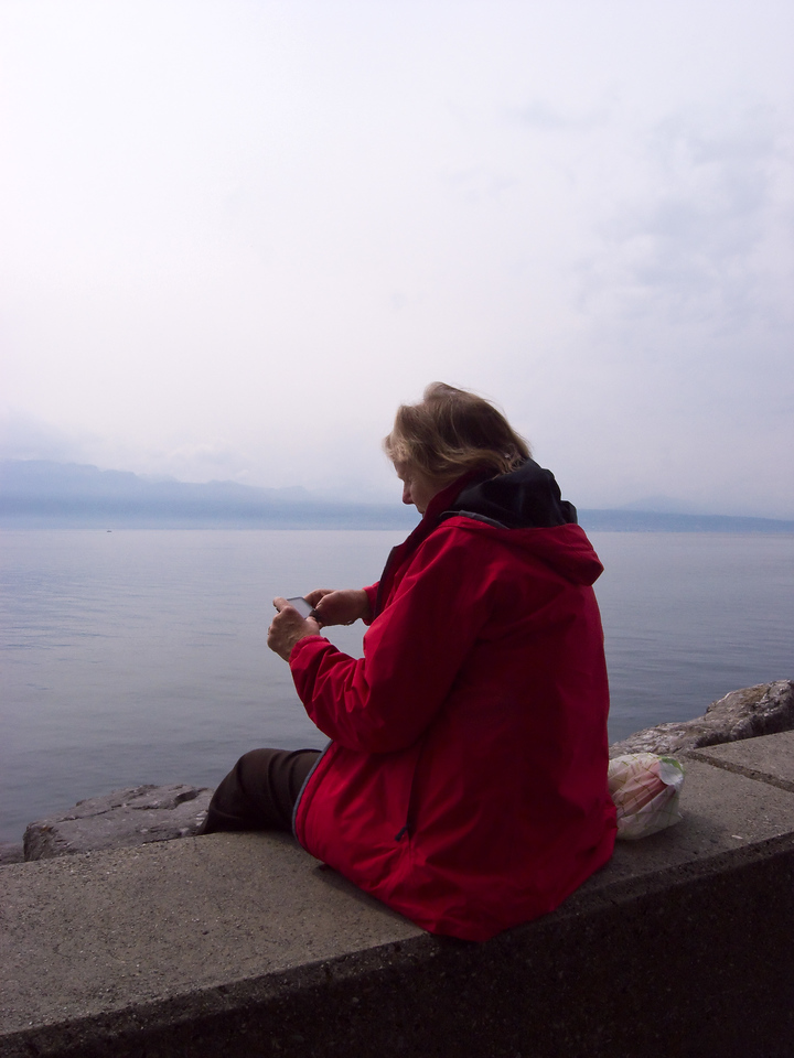 Mother looks across to France at Lausanne