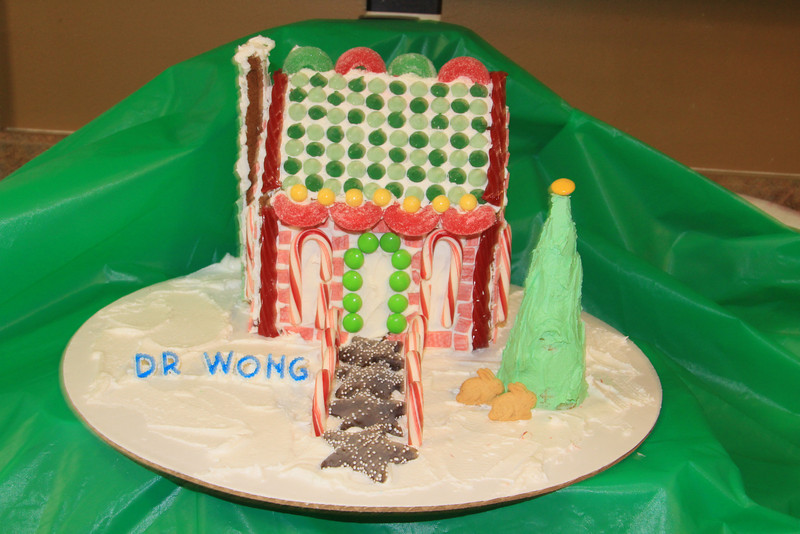 On the highest point of the Christmas Village, Dr. Wong's house