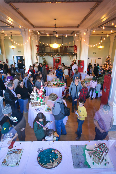 A peek from the street through the widow at Petaluma Gingerbread House Showcase & Competition Hosted by Hotel Petaluma December 15-17th 2017. Victoria Webb for the Argus-Courier