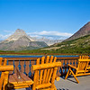 View from back porch at Many Glacier Hotel looking at the mountains behind Swiftcurrent Lake