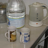 All we needed for a decent cuppa. The kettle was provided, we bought the water and the mugs. Tea bags are in the cupboard and milk is in the fridge. Excellent!