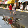 Large puddles left by the rain.