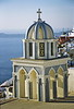 santorini - church along path by bay