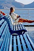 santorini - woman on ferry to santorini