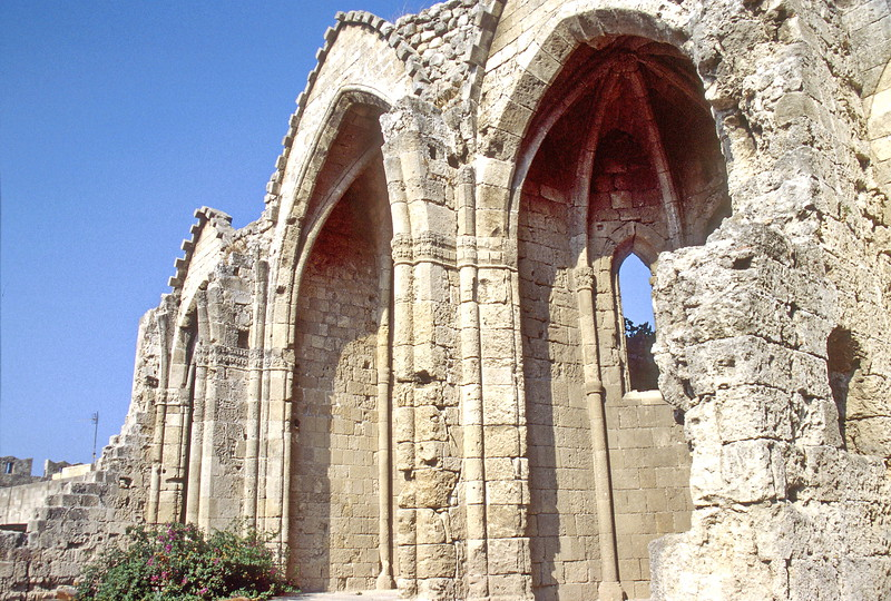 rhodes - ruined walls and arches