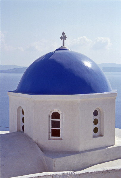 santorini - blue church dome