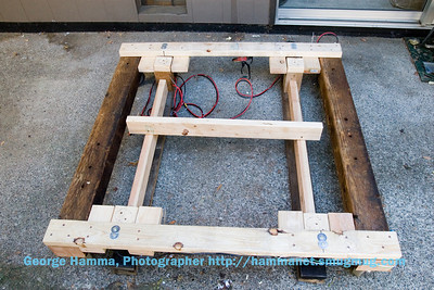 This is another view of the drop frame on the ground in the rotation frame, to show how the alignment blocks are arranged.