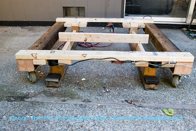 This is a view of the drop frame on the ground.  In operation, it will be suspended from the stage when it sits on the rotation frame, and will not be on the ground.  That will permit the Time Machine to be rotated with the stage elevated or dropped.