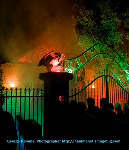 In the night, the computer-controlled lighting makes for very effective presentations.  Smoke effects accompanied the largest figure standing up and addressing the crowd, explaining the DC Cemetery theme.
