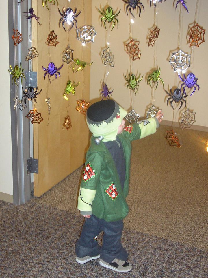 Alex LOVES walking through the spider