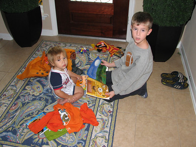 The boys with the loot from Grannie and Grandpa.