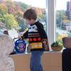 Evan at Nana's condo - wearing spooky sweater Nana knit for him  :)