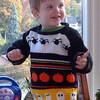 Evan wearing sweater handknit by Nana - 2010
