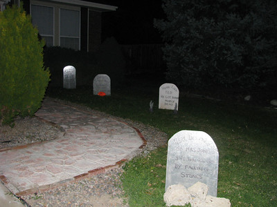 The scary tombstones in the front yard