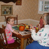 Sweetie painted pumpkins with all of the grandkids...here are pics of Reese and her painting the pumpkin.