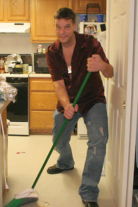 Sweeping up the mess after the bread fight
