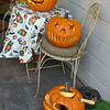 On the table is Jeff's pumpkin, on the chair is Stevens, on the ground is Blake's.
