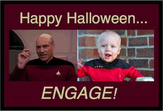 Happy Halloween... ENGAGE!  Baldy Patrick as Captain Picard from Star Trek: The Next Generation