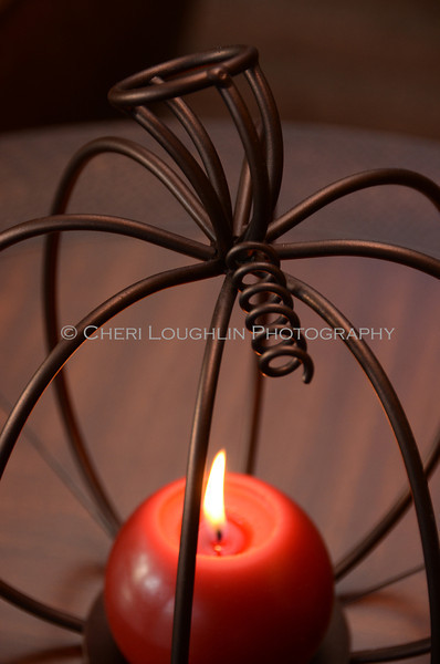 Wire Pumpkin Candle 3
